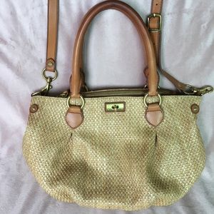 J. CREW flax weave and leather handles and strap